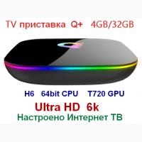 ТВ приставка Q PLUS 4Gb+32Gb UHD 6k настроено Интернет ТВ IPTV