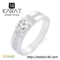 Золотое кольцо с бриллиантами 0, 52 карат. Белое золото. НОВОЕ (Код: 18800)