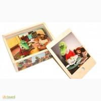 Чебурашка и крокодил Гена» деревянные кубики 12шт. Развивающая игрушка из дерева
