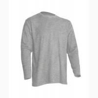 Мужская футболка с длинными рукавами, серый меланж