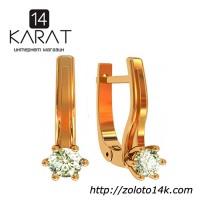Золотые серьги с бриллиантами 0, 30 карат. Желтое золото. НОВОЕ (Код: 15798)