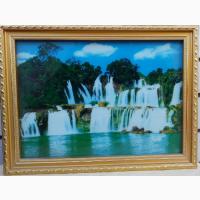 Картина с подсветкой Водопад музыкальная, размер 40х30см