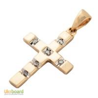 Золотой крестик с бриллиантами. НОВЫЙ Натуральные камни!