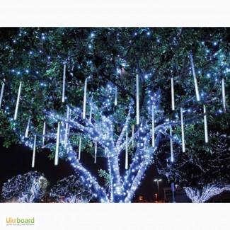 Гирлянда тающие сосульки, падающий снег, snowfall, уличные новогодние гирлянды на деревья