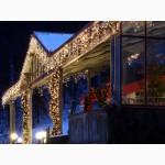 Новогоднее оформление города, праздничная новогодняя иллюминация, монтаж