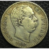 Италия 2 лиры 1887 год Умберто I СЕРЕБРО! ОТЛИЧНОЕ СОСТОЯНИЕ