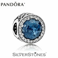 Скидки! Оригинал Pandora Пандора шарм бусина Сияющие сердца синий арт. 791725NMB