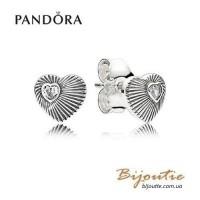 Серьги винтажное сердце ― 297298CZ оригинал Пандора