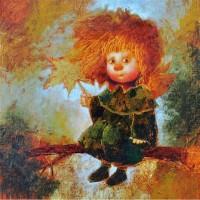 Картина маслом на подарок Мой осенний ангел