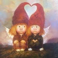 Картина маслом в детскую Два ангелочка