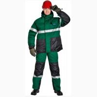Рабочий утепленный костюм зелено-черный под заказ