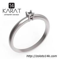 Золотое кольцо с бриллиантом 0, 10 карат 17, 5 мм Кольцо для предложения Белое золото Новое