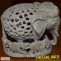 Статуэтка Индия Слон каменный резной 13 слонов