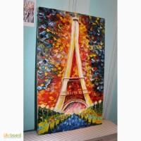 Продам картину маслом огни Эйфелевой башни