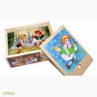 Малыш и Карлсон» деревянные кубики 12шт. Развивающая игрушка из дерева