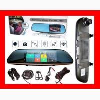 D35 / K35 Зеркало регистратор, 7 сенсор, 2 камеры, GPS навигатор, WiFi