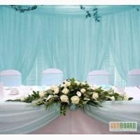 Оформление свадебного стола, украшение зала цветами и тканями, свадебный декор и текстиль