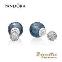 Pandora серьги синие мерцающие капли 296355NBC