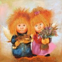 Картина маслом на подарок - Нежные ангелы