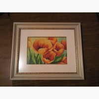 Картина вышита крестом желтые тюльпаны