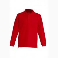 Детская футболка-поло с длинными рукавами, красный цвет