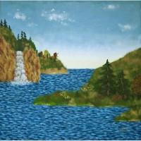 Картина масло холст Водопад над рекой