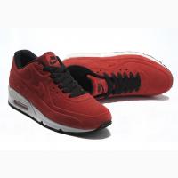 Кроссовки красные Nike Air Max 90 VT Red натуральный замш зимние теплые