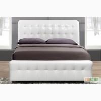 Кровать двуспальная, кремовый кожзам
