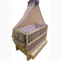 Акция! Комплект для сна! Кроватка маятник, ящик, матрас кокос, постель