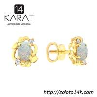 Золотые серьги гвоздики с опалами и бриллиантами 0, 06 карат. Желтое золото. НОВЫЕ