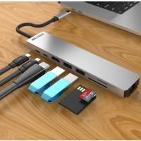 Многофункциональный адаптер переходник ZAMAX 8-в-1 Type C USB HUB to HDMI/HDTV + PD + USB