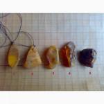 Кулоны из необработанного натурального янтаря