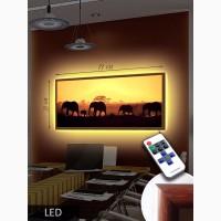 Картина с LED-подсветкой 33х73 см в рамке