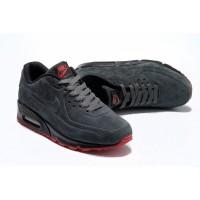 Серые кроссовки Nike Air Max 90 VT Gray зимние теплые натуральный замш