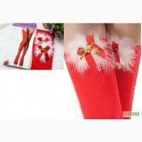 Красные чулки с мехом, колокольчиками, кружевами и бантиками