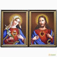 Икона вышитая бисером. Открытое Сердце Иисуса и Марии