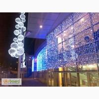 Новогоднее украшение окон, монтаж праздничной иллюминации, гирлянды