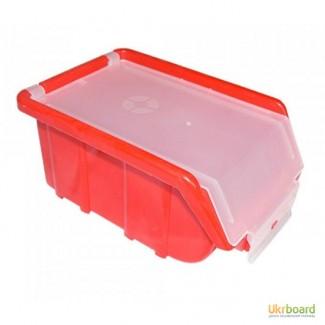 Органайзер маленький красный с прозрачной крышкой 175x110x75 мм