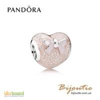 Оригинал PANDORA шарм розовое кружевное сердце 792044ENMX