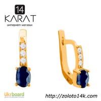 Золотые серьги с сапфирами и бриллиантами 0, 12 карат. Желтое золото. НОВЫЕ (Код: 14133)