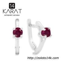 НОВЫЕ серебряные серьги с натуральным рубином 3, 00 карат (Код: с1027) Есть кольцо и кулон