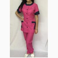 Женский медицинский костюм Фантазияс коротким рукавом, малиновыйцвет