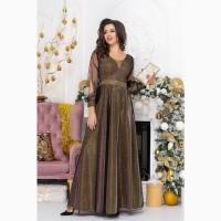 Золотое вечернее платье с рукавами