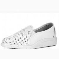 55-01 Туфли кожаные женские, белые