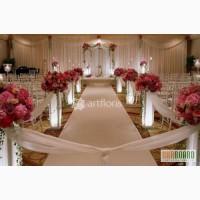 Украшение свадьбы цветами,тканями, оформление свадебного стола, фона, арка