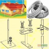 Молниеотвод 8мм, 10 мм, полоса, крепеж - для громоотводов, сеток молниезащиты домов