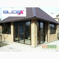 Алюминиевые раздвижные окна. Различные цвета, декор под структуру дерева
