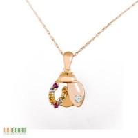 Золотой кулон жук с разноцветными камнями и бриллиантом + цепочка. НОВЫЙ (Код: 13673)