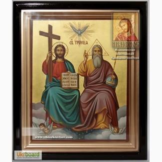 Святая Троица рукописная икона в киоте