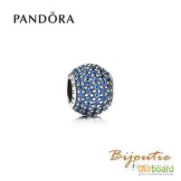 Оригинал шарм Pandora голубой шар паве 791051NCB